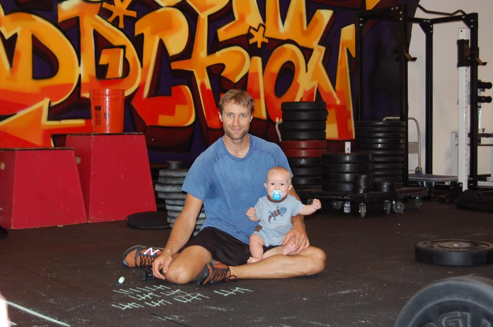 Father and son at gym