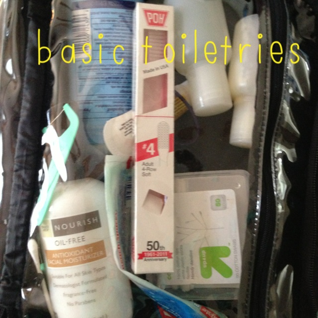 hospital bag toiletries