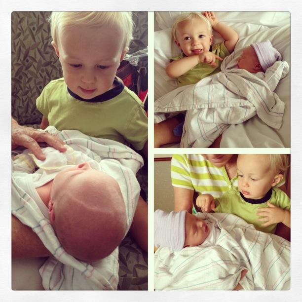 Brother meets newborn