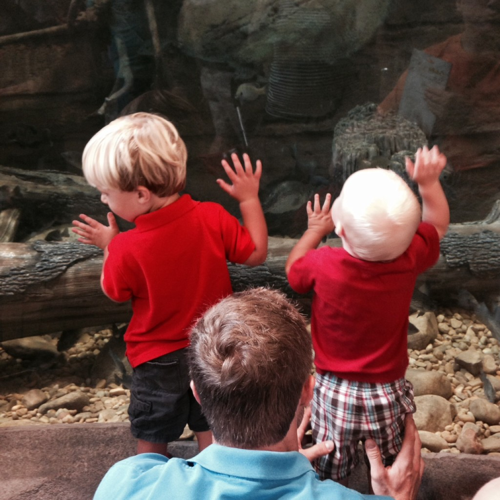 james and boys at cabelas
