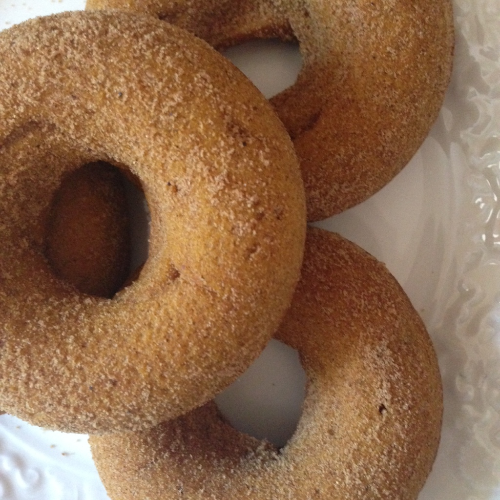 sugar coated pumpkin donuts