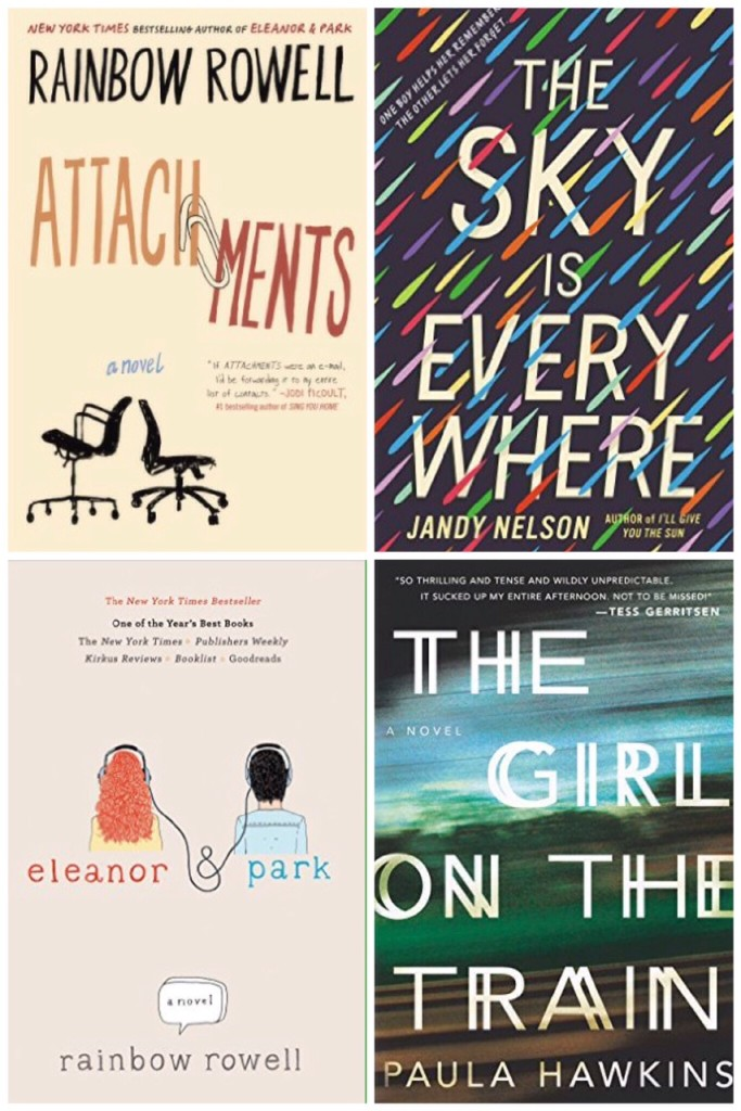 attachments, the sky is everywhere, elanor and park, the girl on the train