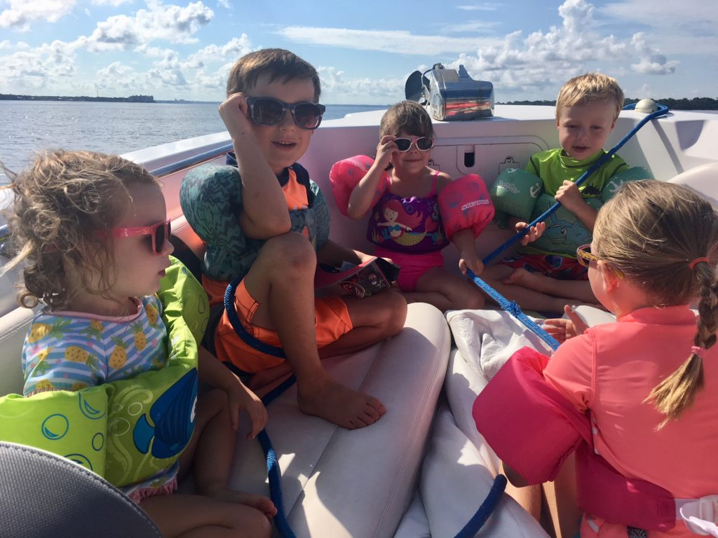 water safety for kids, puddle jumpers on boat